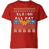 Wonder Woman 'Sleigh All Day Kids' Christmas T-Shirt - Red - 9-10 Years - Red