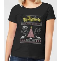 Flintstones Rockin Around The Tree Women's Christmas T-Shirt - Black - L - Black