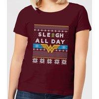 Wonder Woman 'Sleigh All Day Women's Christmas T-Shirt - Burgundy - XL - Burgundy