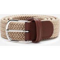 Anderson's Men's Polished Silver Buckle Woven Belt - Beige - W32/M