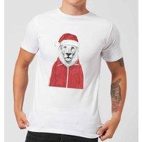 Balazs Solti Santa Lion Mens T-Shirt - White - 3XL - White