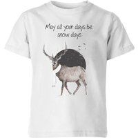 Balazs Solti May All Your Days Be Snow Days Kids' T-Shirt - White - 11-12 Years - White - Snow Gifts