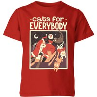 Tobias Fonseca Cats For Everybody Kids' T-Shirt - Red - 5-6 Years - Red