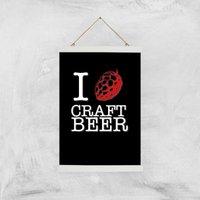 I Hop Craft Beer Art Print - A3 - Wood Hanger