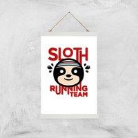 Sloth Running Team Art Print - A3 - Wood Hanger - Sport Gifts