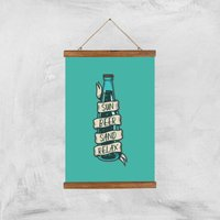 Sun Beer Sand Relax Art Print - A3 - Wood Hanger