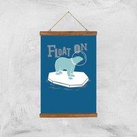 Polar Bear Float On Art Print - A3 - Wood Hanger