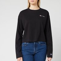 Champion Women's Long Sleeve Crew Neck Cropped T-Shirt - Black - L