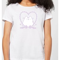 Pusheen Decorative Love Heart Frame Women's T-Shirt - White - 5XL - White
