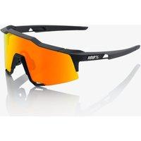 100% Speedcraft Sunglasses with HiPER Mirror Lens - Soft Tact Black/Red Lens