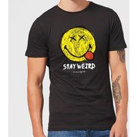 Stay Weird Upside Down Smiley Men's T-Shirt - Black - XXL - Black - Smiley Gifts