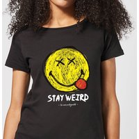 Stay Weird Upside Down Smiley Women's T-Shirt - Black - XXL - Smiley Gifts