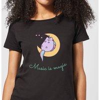 Pusheen Music Is Magic Women's T-Shirt - Black - L - Black - Music Gifts