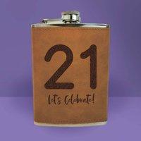 21 Let's Celebrate Engraved Hip Flask - Brown