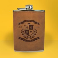 Premium Alcohol Seal Of Approval Engraved Hip Flask - Brown - Alcohol Gifts