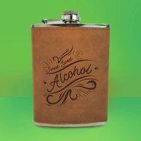 Sweet Sweet Alcohol Engraved Hip Flask - Brown - Alcohol Gifts