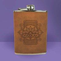Vodka Line Seal Engraved Hip Flask - Brown - Alcohol Gifts