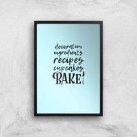 Baking Words Art Print - A2 - Black Frame