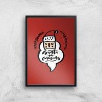 Santa Is Coming Art Print - A2 - Black Frame