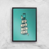 Sun Beer Sand Relax Art Print - A2 - Black Frame