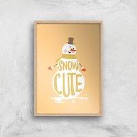 Christmas Snow Cute Snowman Art Print - A2 - White Frame