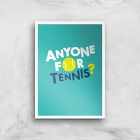 Anyone For Tennis Art Print - A2 - White Frame - Sport Gifts