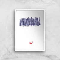Alone In The Forest Art Print - A2 - White Frame