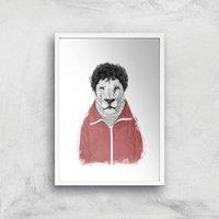 Balazs Solti Sporty Lion Art Print - A2 - White Frame