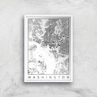 City Art Black and White Washington Map Art Print - A2 - White Frame