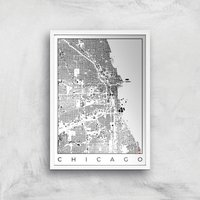 City Art Black and White Chicago Map Art Print - A2 - White Frame