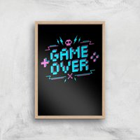 Game Over Gaming Art Print - A2 - Wood Frame