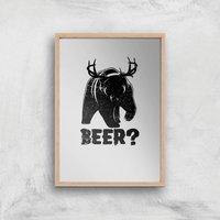 Beer Bear Deer Art Print - A2 - Wood Frame