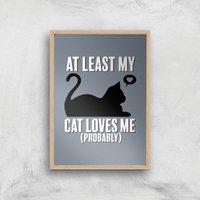 At Least My Cat Loves Me Art Print - A2 - Wood Frame