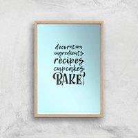 Baking Words Art Print - A2 - Wood Frame