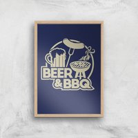 Beer and BBQ Art Print - A2 - Wood Frame