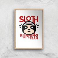 Sloth Running Team Art Print - A2 - Wood Frame - Sport Gifts