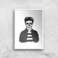 Balazs Solti Cool Skull Art Print - A2 - White Frame