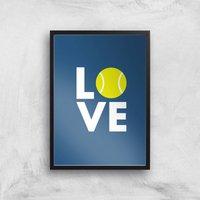 Love Tennis Art Print - A3 - Black Frame - Sport Gifts