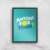 Anyone For Tennis Art Print - A3 - Black Frame - Sport Gifts