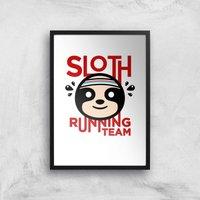 Sloth Running Team Art Print - A3 - Black Frame - Sport Gifts