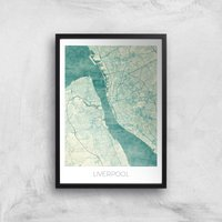 City Art Coloured Liverpool Map Art Print - A3 - Black Frame