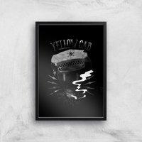 Yellow Cab Hyena Art Print - A3 - Black Frame