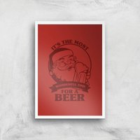 The Most Wonderful Time For A Beer Art Print - A3 - White Frame