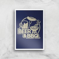 Beer and BBQ Art Print - A3 - White Frame