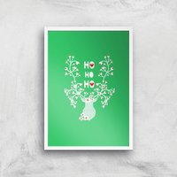 Ho Ho Ho Reindeer Art Print - A3 - White Frame