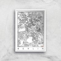 City Art Black and White Berlin Map Art Print - A3 - White Frame