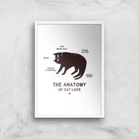 The Anatomy Of Cat Love Art Print - A3 - White Frame
