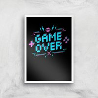 Game Over Gaming Art Print - A3 - White Frame