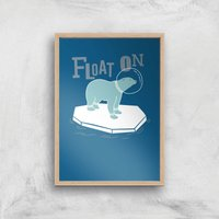 Polar Bear Float On Art Print - A3 - Wood Frame