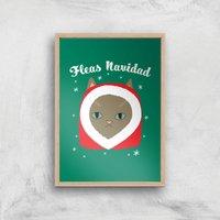 Fleas Navidad Art Print - A3 - Wood Frame